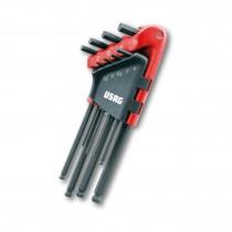 USAG 280 LTS/S9 - Serie di 9 chiavi maschio esagonale lunghe testa sferica